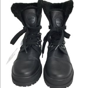 NWT Pajar Leather Combat Style Faux Fur Boots